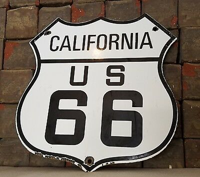 Vintage United States Route 66 Porcelain Highway Auto Gas Travel Map Badge Sign