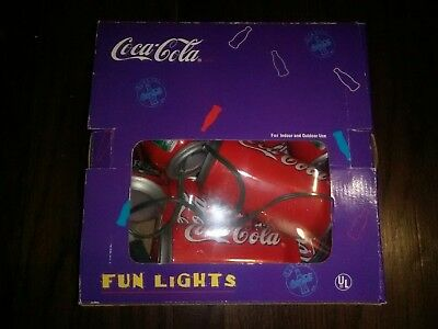 Coca-Cola Fun Lights Indoor & Outdoor 10 Can Sized Lights in Box Christmas light