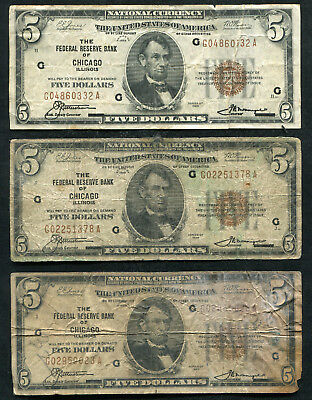(3) 1929 $5 Frbn Federal Reserve Bank Notes (C)