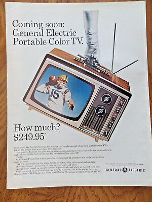 1965 GE General Electric TV Television Ad Portable Color TV
