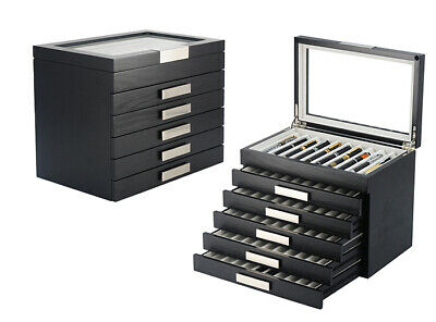 Pen Display Case Wood Box Storage - Fits Up To 60 Pens (314060)