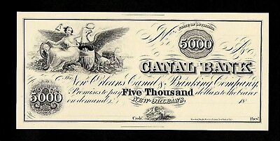 Abnc Proof Print $5000 $5,000 Canal Bank New Orleans Obsolete Banknote