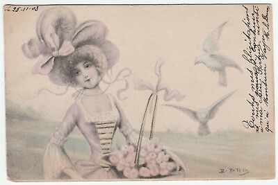 RARE  Artist signed Postcard - B. Patella 1903 Art Nouveau Woman - Belgium Stamp
