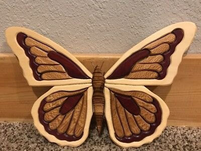 Vintage Hand Made Inlaid Wood Marquetry Butterfly 1