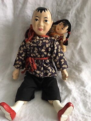"Vintage Chinese Doll No. 129 Woman Carrying Girl 12"" Hong Kong"