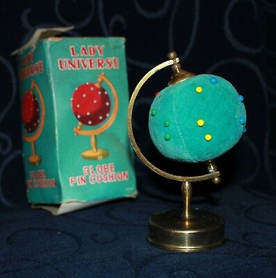 vintage globe pin cushion + tape measure JAPAN spins in box 13cm  Lady Universe