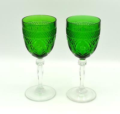 Pair of 2 Cristal D'Arques Emerald Green Wine/Water Goblets - Antique Pattern