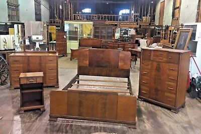 Signed Antique Art Deco Vintage Bedroom Set Long Furniture Co