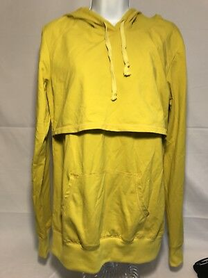 Latched Mama Womans Sz XL Lightweight Active Nursing Hoodie  yellow green color