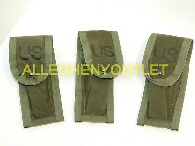 US Military OD Green 9mm Pistol Ammo Mag Pouch w/ (2) Alice Keepers NEW