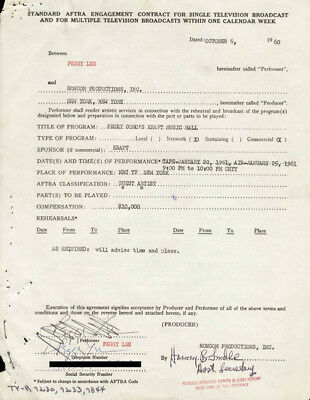 Peggy Lee - Contract Multi-Signed 10/06/1960
