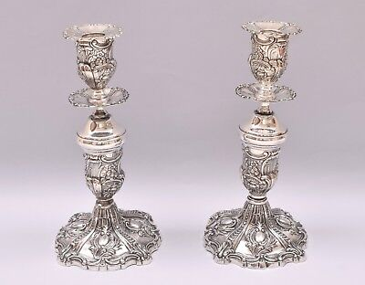 Repousse Pair Of Solid Silver Candlesticks