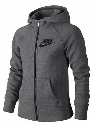 New Youth Girl's Nike Carbon Heather Grey Full Zip Hoodie  839473 091 Nwt