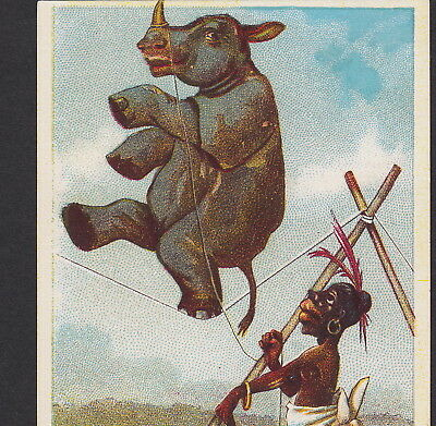 Black Rhino Circus Slackwire Ethnic 1800s Merrick Sewing Thread Advertising Card