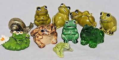 VINTAGE Lot of 9 Small Frogs+, Terrarium, Plastic Glass Pottery, Hong Kong ++