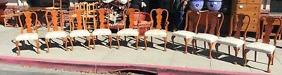 10 Chippendale Style Burl Mahogany Dining Chairs
