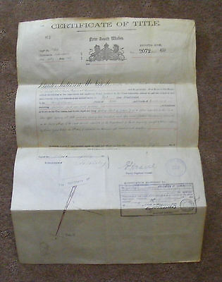 AUSTRALIAN nsw certificate of land title ,Nepean county of Cumberland, 1910