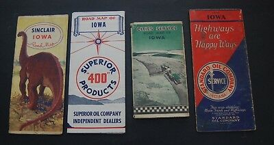 Lot of 4 Vintage Iowa Gas Station Road Maps - Superior 400 / Cities Service