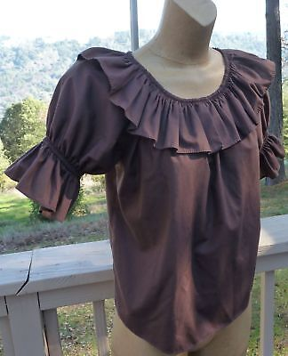 """Square Up Fashions Brown Square Dance Blouse M-L Bust 46"""" Generous Length Sleeve"""