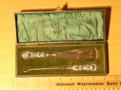 Vintage Silver Handled Shoe Horn & Button Hook In Original Box