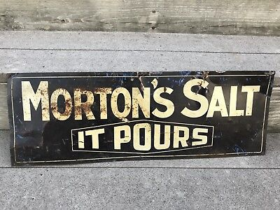 "Original Rare Double Sided Morton's Salt it Pours Steel Advertising Sign 10""x28"""