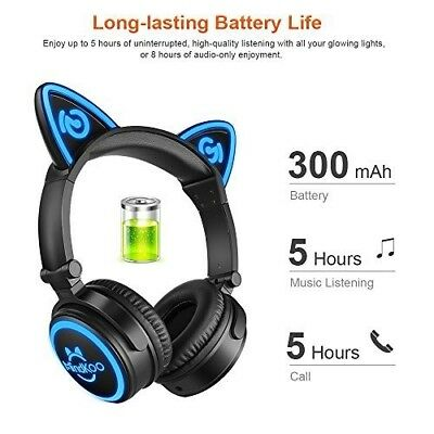 Wireless Cat Headphones LED Flashing Glowing Lights with Bluetooth with Mic New