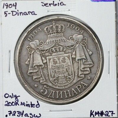 1904 Serbia Silver 5 Dinara KM# 27 Only 200,000 Minted