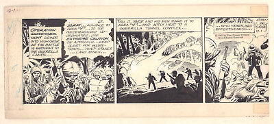 Tales of the Green Beret 3 Panels of a Strip 12/1/1967 Signed art by Joe Kubert