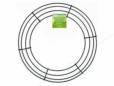 "Round Wire Wreath Frame Form 14"", Green for Floral, Burlap Wreathmaking Supply"