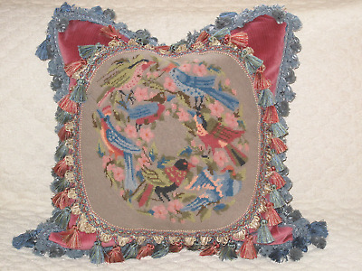 Charming Vintage Woolwork Needlepoint Tapestry Pillow Of Birds