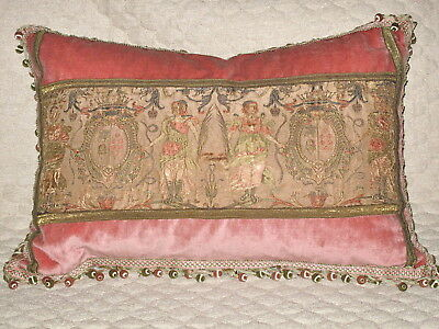 ANTIQUE 19TH c EMBROIDERED SILK FIGURAL TEXTILE PILLOW WITH FAMILY CRESTS