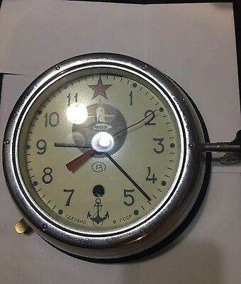 VINTAGE RUSSIAN SUBMARINE CLOCK WITH KEY 4239 Polished Steel Framed Glass Front