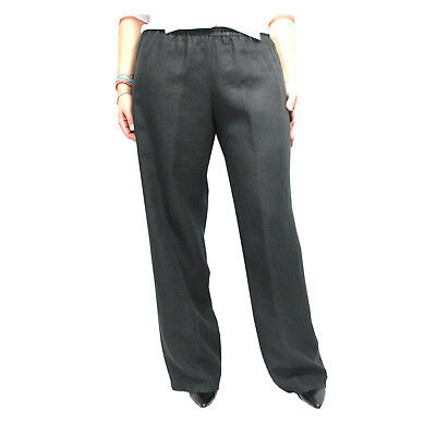 ASPESI women's trousers black 100% linen MADE IN ITALY