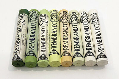 Rembrandt Soft Pastels 8 Mixed Shades Of Green + Yellow  Full Sticks. Lot 1024.
