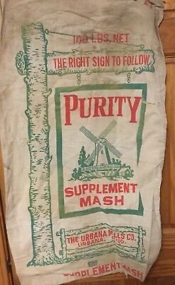 Vintage Feed Sack Purity Supplemental Mash From Urbana Ohio