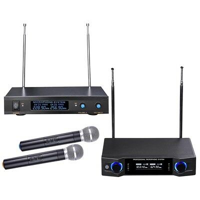 VHF UHF Audio 2 Channel LCD Receiver Handheld Wireless Microphone Mic System KTV