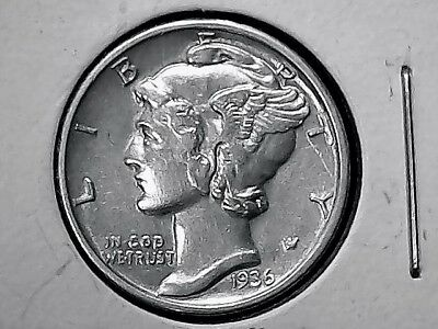 Mercury Dime 1936 Philadelphia Mint Silver Uncirculated High Grade  Very Nice+++