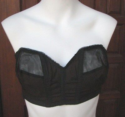 Vtg 50s Strapless Partially Sheer Pointed Bullet Bra Pin-Up by Goddess Size 34 C