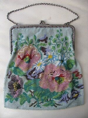 Antique Victorian Silver Tone Mint Green Floral Crochet French Micro Bead Purse