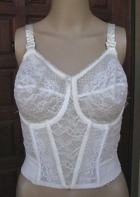 Vtg Sheer Lace Corset Bra by Rondeau Size 36 / 37 D Underwire Boned Shapewear