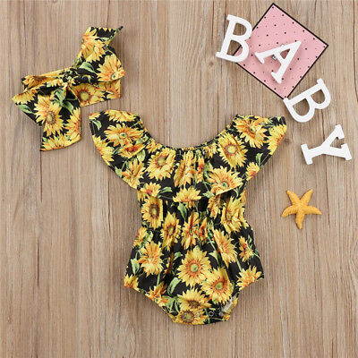USA Stock Newborn Baby Girls Flower Romper Bodysuit Jumpsuit 2PCS Outfit Clothes