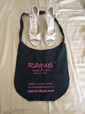 Raquel Leather Tango High Heels with Leather Soles, Gold, Size 9