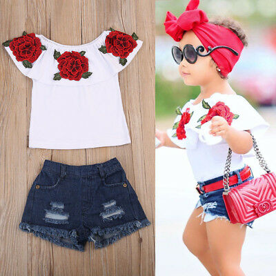 US Stock Toddler Kids Baby Girls 3D Flower Tops Denim Hot Pants Outfits Clothes