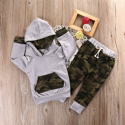 Newborn Infant Baby Boy Girls Clothes Hooded T-shirt Tops+Pants Outfits US b