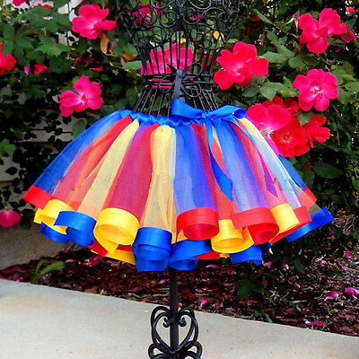 Toddler Kids Baby Girls Skirt Rainbow Tulle Tutu Party Ballet Dance Dress USA b