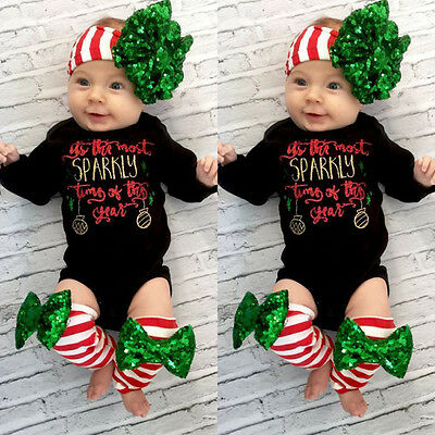 Newborn Infant Baby Girl Romper Bodysuit+Leg Warmer Outfits Striped Clothes Xmas