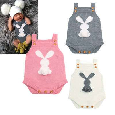 Newborn Baby Boys Girls Bunny Knitting Wool Romper Bodysuit Jumpsuit Outfits USA
