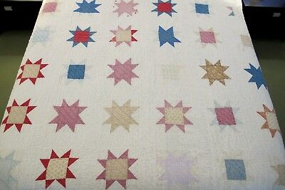 WELL USED, Still Strong Vintage Old Cotton Hand Sewn SAW TOOTH, Star QUILT; Full