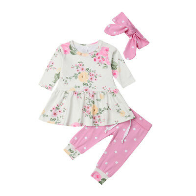 US Seller Newborn Baby Girl Floral Clothes Romper Pants Leggings Hat Outfit 4pcs