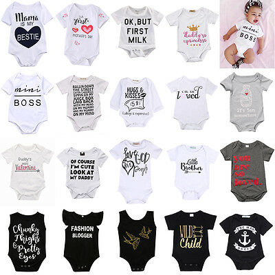 Newborn Infant Baby Boys Girls Cotton Romper Bodysuit Jumpsuit Oufit Set Sunsuit